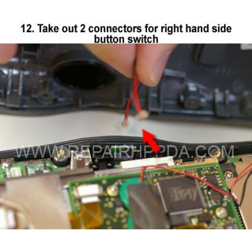 12. Take out 2 connectors for right hand side button switch
