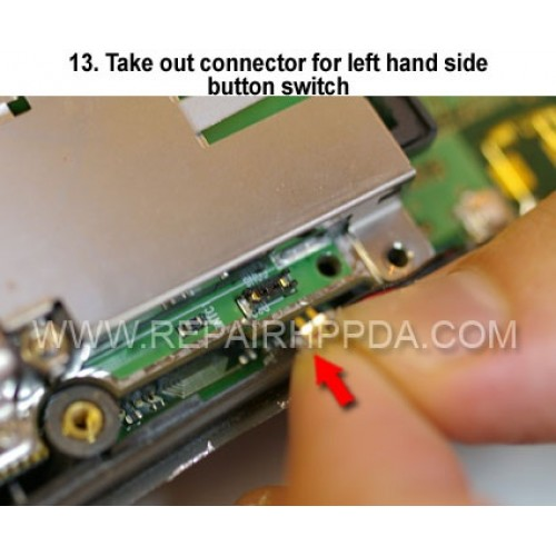 13. Take out connector for left hand side button switch