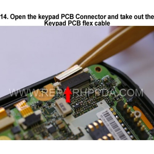 14. Open the keypad PCB Connector and take out the Keypad PCB fl