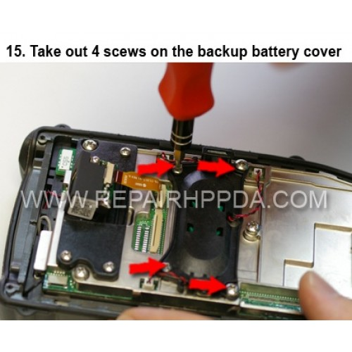 15. Take out 4 scews on the backup battery cover