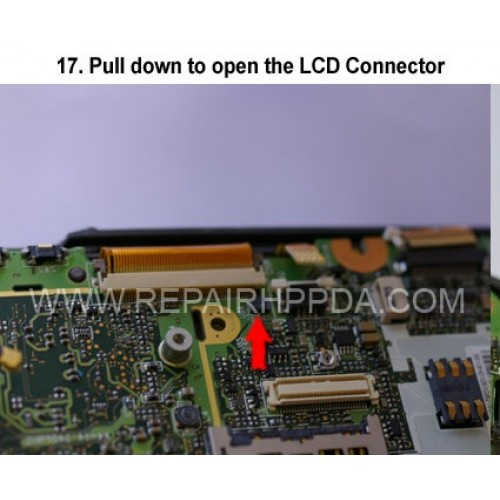 17. Pull down to open the LCD Connector