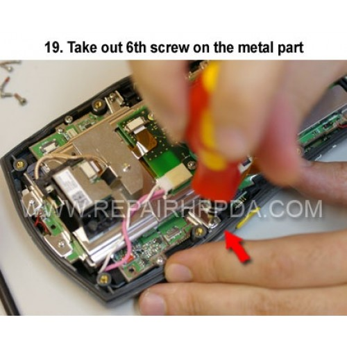 19. Take out 6th screw on the metal part