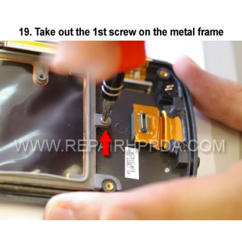 19. Take out the 1st screw on the metal frame