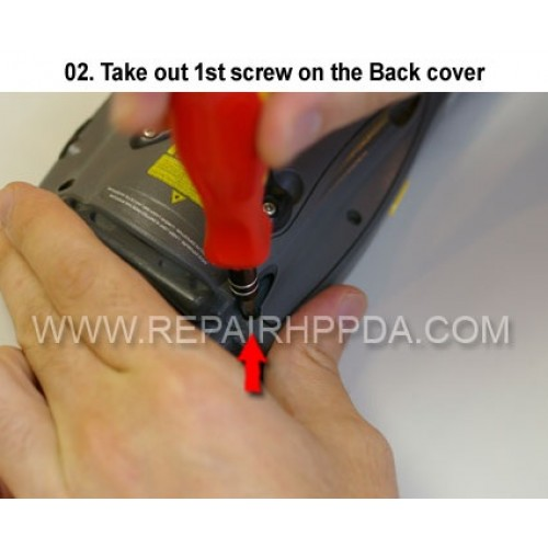 2. Take out 1st screw on the Back cover