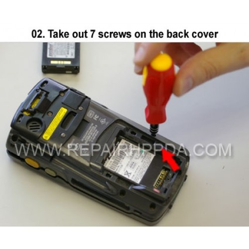 2. Take out 7 screws on the back cover