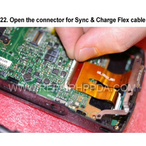 22. Open the connector for Sync & Charge Flex cable