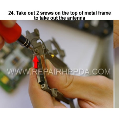 24. Take out 2 srews on the top of metal frame to take out the a