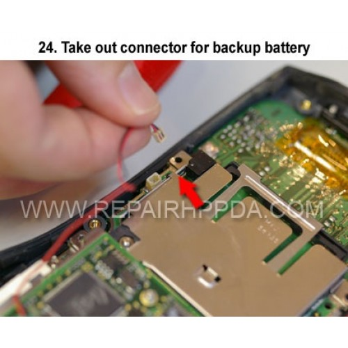 24. Take out connector for backup battery
