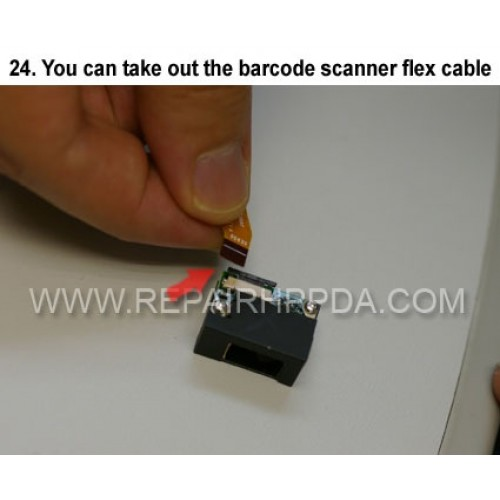 24. You can take out the barcode scanner flex cable