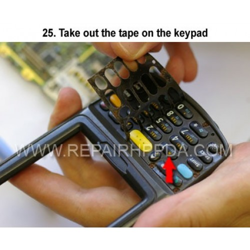 25. Take out the tape on the keypad