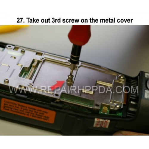 27. Take out 3rd screw on the metal cover