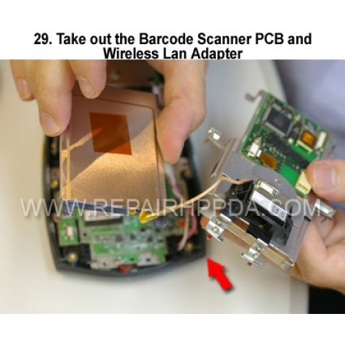 29. Take out the Barcode Scanner PCB and Wireless Lan Adapter