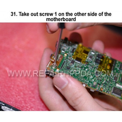 31. Take out screw 1 on the other side of the motherboardq