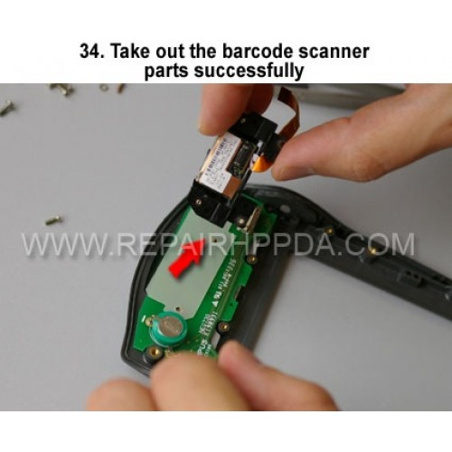 34. Take out the barcode scanner parts successfully