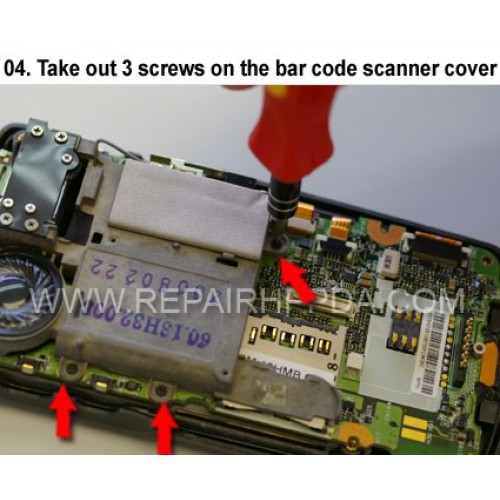 4. Take out 3 screws on the bar code scanner cover