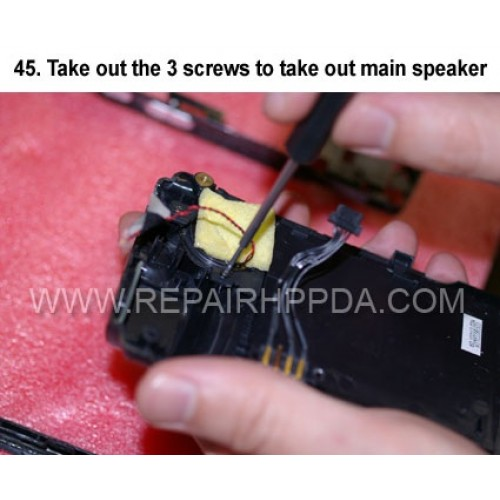45. Take out the 3 screws to take out main speaker