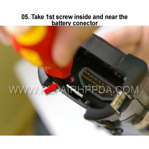 5. Take 1st screw inside and near the battery connector
