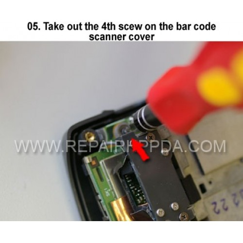 5. Take out the 4th scew on the bar code scanner cover