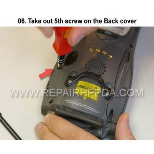 6. Take out 5th screw on the Back cover