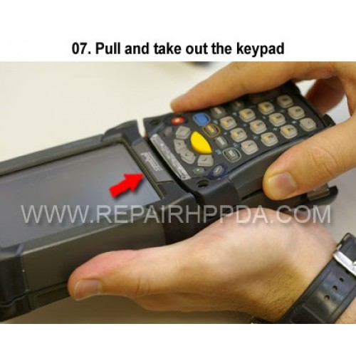 7. Pull and take out the keypad