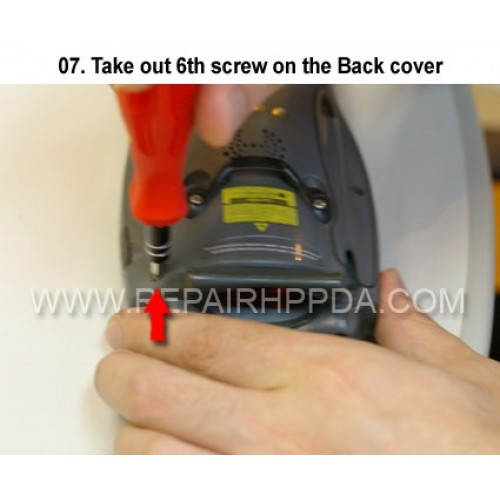 7. Take out 6th screw on the Back cover