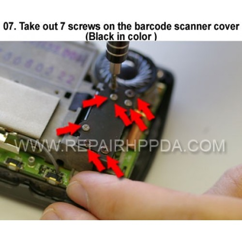 7. Take out 7 screws on the barcode scanner cover (Black in col