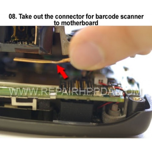 8. Take out the connector for barcode scanner to motherboard