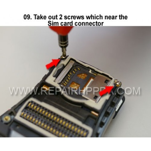 9. Take out 2 screws which near the Sim card connector