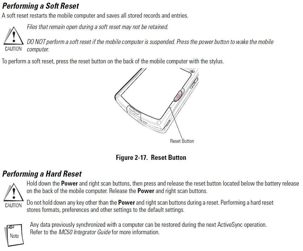 Symbol ® How to Reset